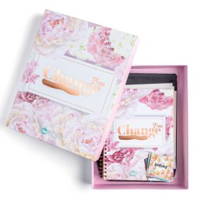 pink floral change notebook